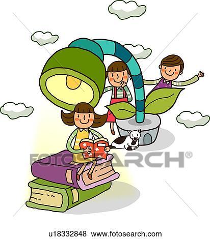 女の子の読書 A 本 で 2人の司厨員 後ろ立つこと 彼女