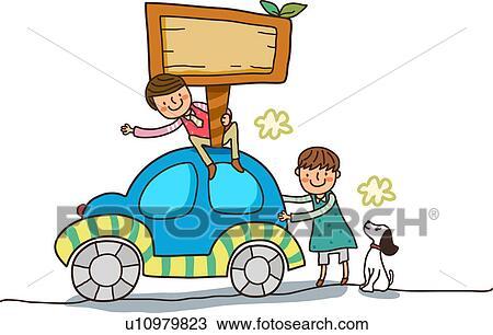 çizim Oturan Erkek çocuk üstünde Lâ Notasi Araba Ile Lâ