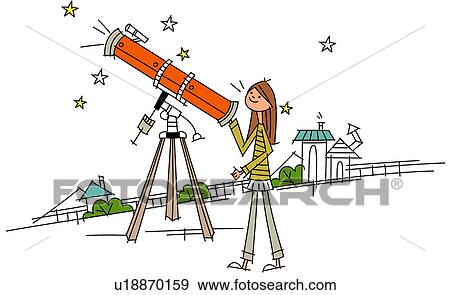 Woman using an astronomy telescope Stock Illustration ...