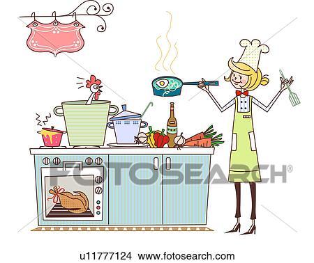 zeichnungen koechin kochende in a kommerzielle k che u11777124 suche clip art. Black Bedroom Furniture Sets. Home Design Ideas