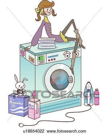 Waschmaschine clipart  Clip Art - frau sitzen, auf, a, waschmaschine u18654022 - Suche ...