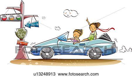 Profil lat ral de a couple voyager dans a voiture convertible dessin u13248913 fotosearch - Voiture profil dessin ...