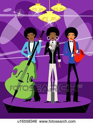 3 ミュージシャンが演ずる 中に A ナイトクラブ イラスト