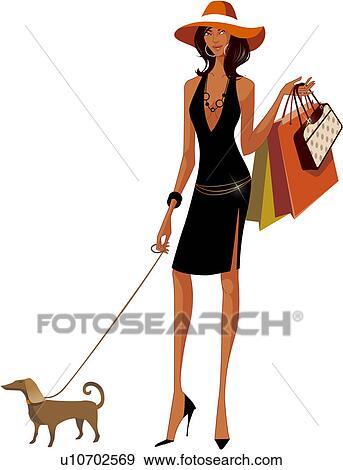 Archivio Illustrazioni - holding donna, borse da spesa ...