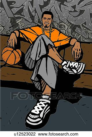 Clip Art Of Man Holding A Basketball And Sitting On A Bench In Front