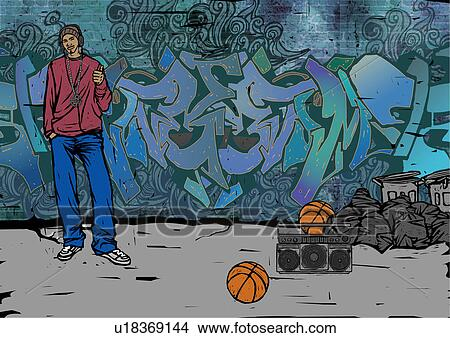 Drawings Of Man Standing In Front Of A Graffiti Covered Wall