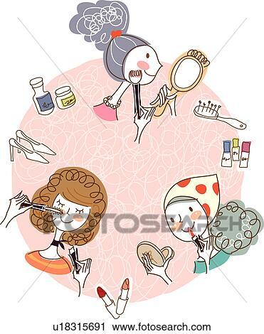 女 メイクアップを応用する クリップアート U18315691 Fotosearch
