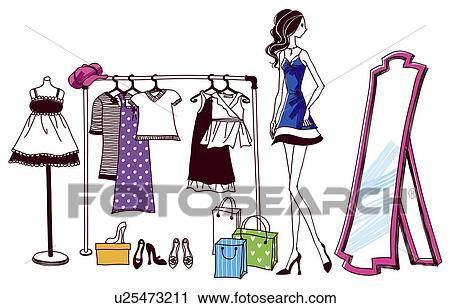 Clipart - donna, prova, vestiti, in, negozio u25473211 ...
