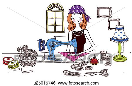 Banque d 39 illustrations couture femme tissu u25015746 - Dessin de couture ...