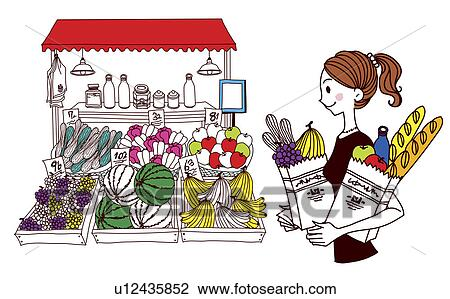 clip art of woman with bag filled with fruit and vegetable standing rh fotosearch com market clipart free market clipart free