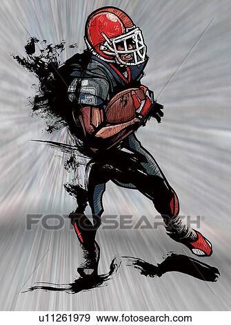 Stock Illustration Of American Football Player Holding Football