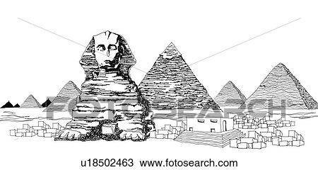 Dessin les grand sphinx et pyramides de giza - Dessin de pyramide ...