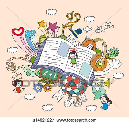 Banque D Illustrations Enfants Jouer Par Livre Ouvert U14821227