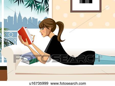 stock illustration of woman lying on sofa reading book u16735999
