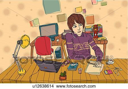 Dibujos mujer joven se sentar en la oficina u12638614 for Ver videos porno en la oficina