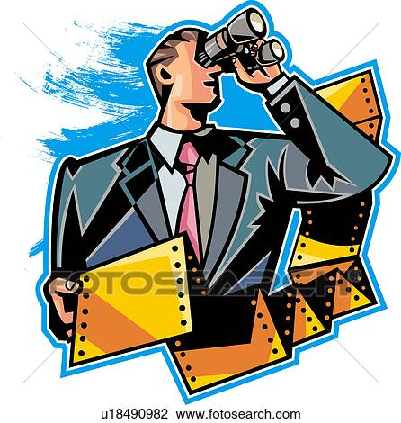 clip art of close up of businessman holding computer paper and rh fotosearch com cartoon businessman clipart businessman clipart black and white