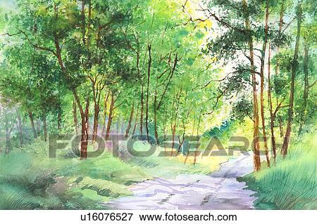 花 水彩画の絵 の 森 イラスト U16076527 Fotosearch
