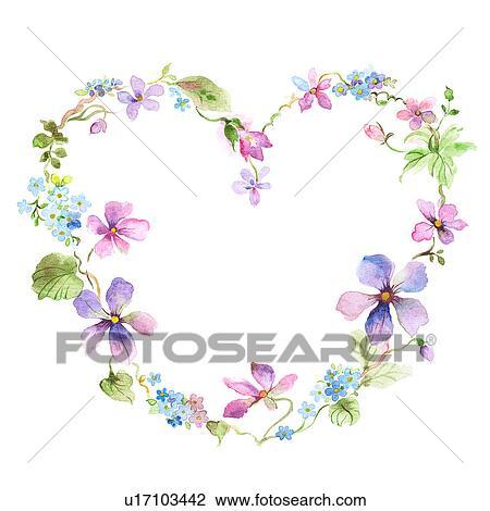 Clip Art Fiore Cornice Di Forma Cuore Con Fiori U17103442