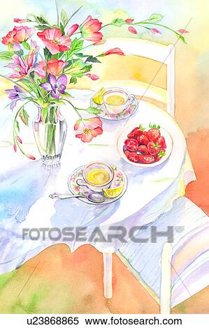 Stock Illustration Of Flower Watercolor Painting Of Food And Drink