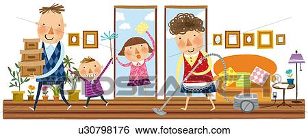 Family Cleaning The House Stock Illustration U30798176 Fotosearch