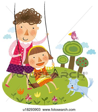 Mother Daughter Playing In Garden Swing Drawing U18293903