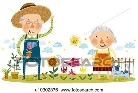Banque d 39 illustrations personnes g es accouplent faire for Recherche jardinier