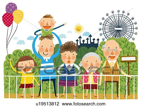 Portrait Of Large Family In Front Of Amusement Park Drawing