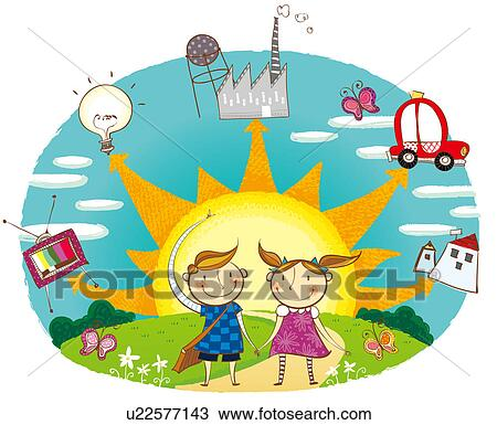 Portrait Of Boy And Girl Showing The Use Of Solar Energy