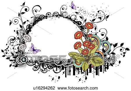 Clip Art Of Design Frame With Orange Flower U16294262
