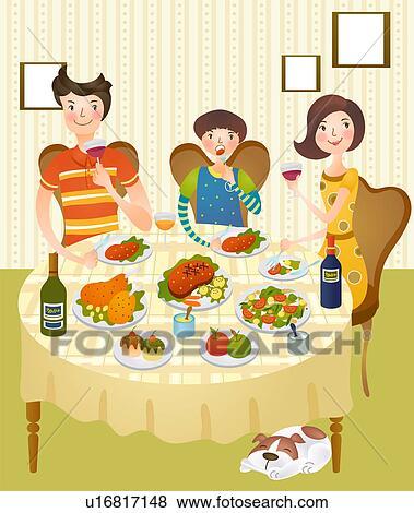 家族 食事を 家で イラスト U16817148 Fotosearch