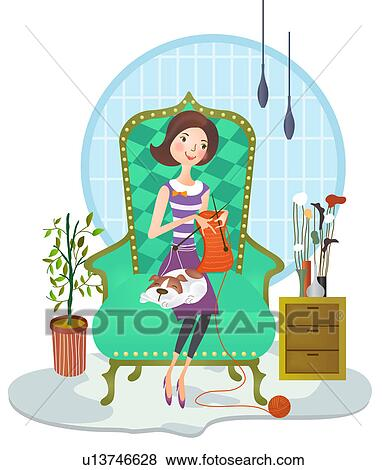Stock Illustration of Woman weaving sweater u13746628 - Search EPS ...