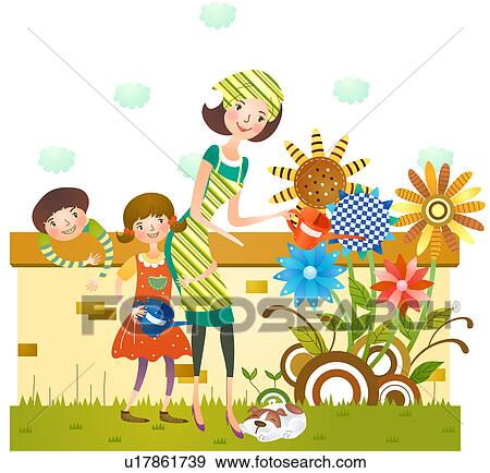 Plant Garden Clipart Stock Illustration Of Mother And Daughter Watering Flower Plants
