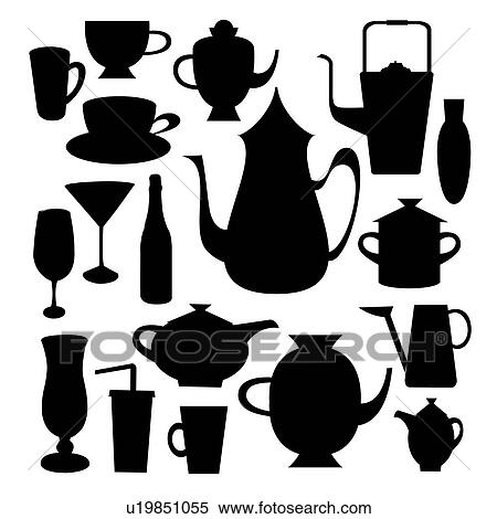 Archivio Illustrazioni - set, di, silhouette, di, cucina, oggetti ...