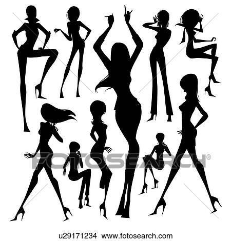 Gut gemocht Dessins - ensemble, de, silhouette, de, les, femme, isolé, blanc  WD26