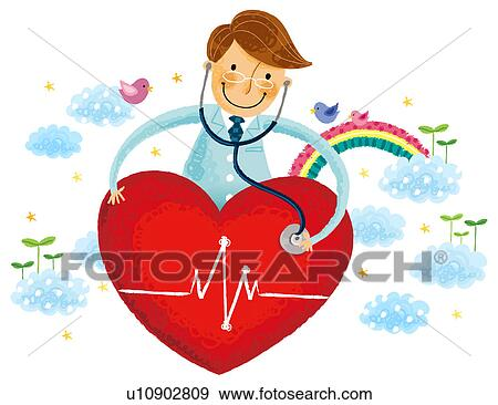 stock illustration of doctor listening heart beats u10902809 rh fotosearch com Woman Doctor Clip Art Doctor Clip Art