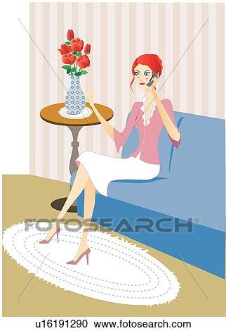 Stock Illustration   Wohnzimmer, Plaudern, Cell Telefoniert, Menschen,  Sofas, Mode, Frau
