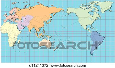 Clip art of sea map world equatorial line land country sea map world equatorial line land country illustration gumiabroncs Image collections