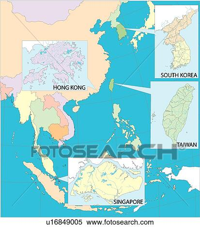 Land World Equatorial Line Illustration Map Country Singapore