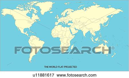 Map, world, continents, countries, equatorial line, World Map 2, sea Stock  Illustration