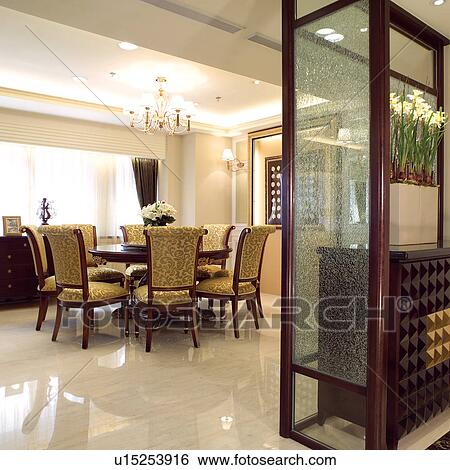Tables, Cupboards, Decoration, Dining room, Dining tables, Chair, Chest  Stock Photograph