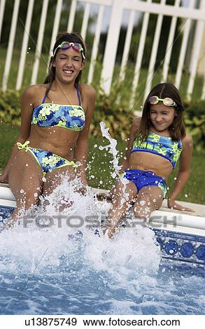 young girls at pool
