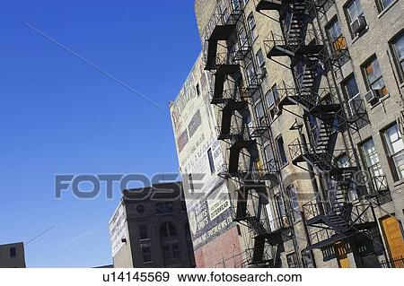 Fire Escape Staircases On An Old Run Down Apartment Building Winnipeg Manitoba