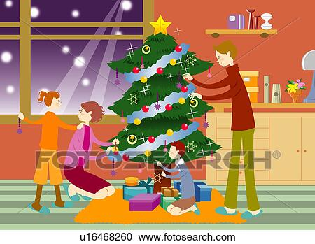 Young Living Christmas Tree.Young Parents Decorating Christmas Tree With Children In The Living Room Clipart