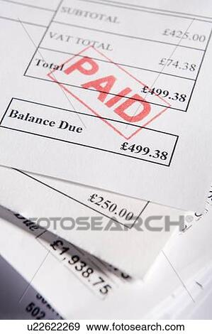 stock photograph of paid invoices u22622269 search stock