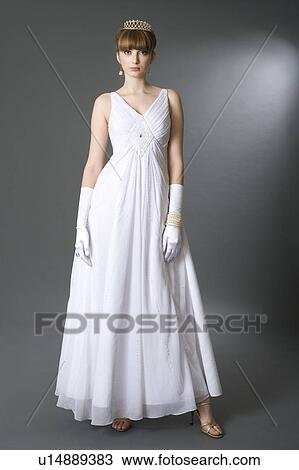 Stock Photo Of Teenage Girl In Formal Dress And Gloves U14889383