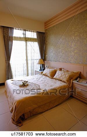Intérieur maison, de, chambre à coucher, à, moderne, style Banque d\'Image