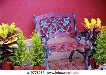 Surprising Potted Plants And Bench By Wall Stock Photography Caraccident5 Cool Chair Designs And Ideas Caraccident5Info
