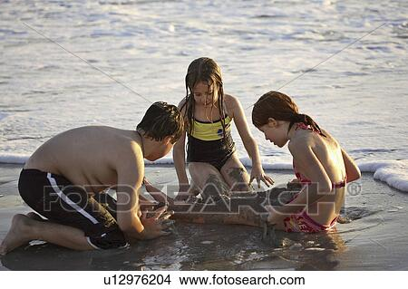 Stock Photo Usa Kids Florida Beach Enjoying Children Fotosearch