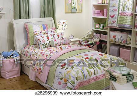 Nett, kindern, schlafzimmer möbel, in, pastell, schatten, kind ...
