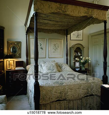 Antique Four Poster Bed With Pale